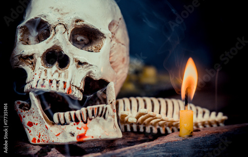 Skull and scary scene for Halloween trick or treat Poster