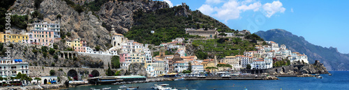 Panoramic view of Amalfi city, the most beautiful city in Amalfi coast - Italy