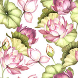 Seamless pattern with lotus. Hand draw watercolor illustration. - 177355808