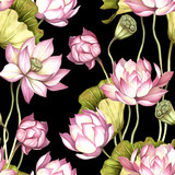 Seamless pattern with lotus. Hand draw watercolor illustration. - 177355811