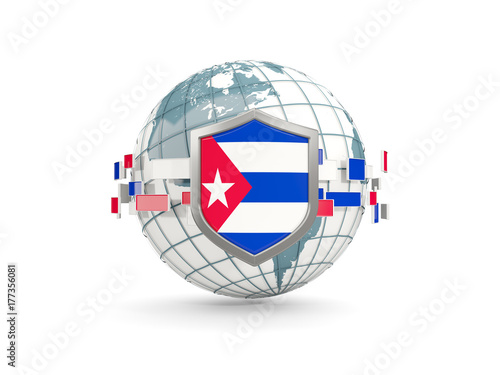 Globe and shield with flag of cuba isolated on white