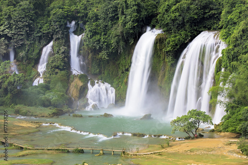 Detian Waterfalls in China, also known as Ban Gioc in Vietnam Poster