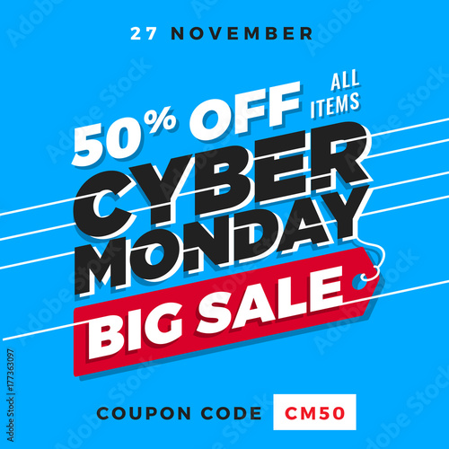 Cyber Monday Super Sale. Up to 50% off Big Sale Sidebar Banner, Poster, Sticker, Badge Advertising Promotion with Price Tag Label Element & Voucher Coupon Gift Code. Fresh Gradient Background Color
