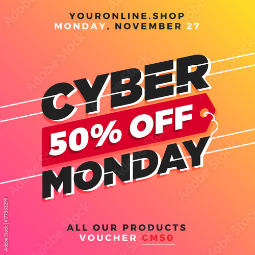 Cyber Monday Super Sale. Up to 75% off Big Sale Sidebar Banner, Poster, Sticker, Badge Advertising Promotion with Price Tag Label Element & Voucher Coupon Gift Code. Fresh Gradient Background Color