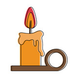 lit melting candle christmas related icon image vector illustration design  - 177366447