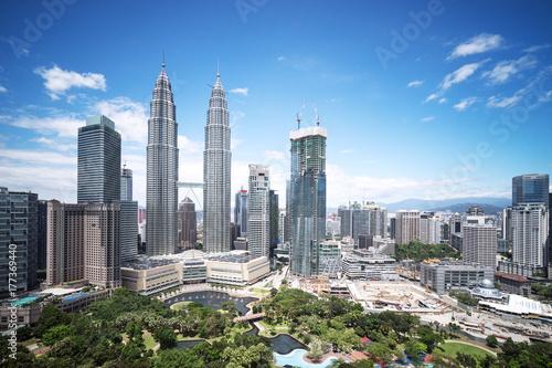 Poster Kuala Lumpur modern buildings in midtown of modern city
