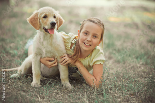 Retriever pup Lovely scene cute young teen girl enjoying posing summer time vacation with best friend dog ivory white labrador puppy Poster