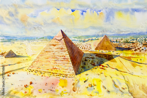 Fotobehang Geel The Great pyramid with desert in Giza, Egypt