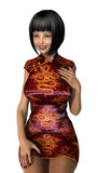 3D Rendering Asian Woman on White
