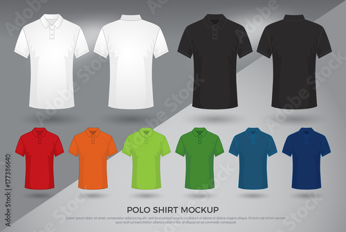 3ca70416a Men's polo shirt mockup, Set of black, white and colored blank polo shirts  templates
