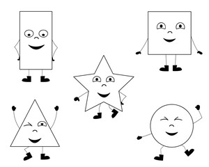 collection of happy dancing basic shapes / coloring page for children