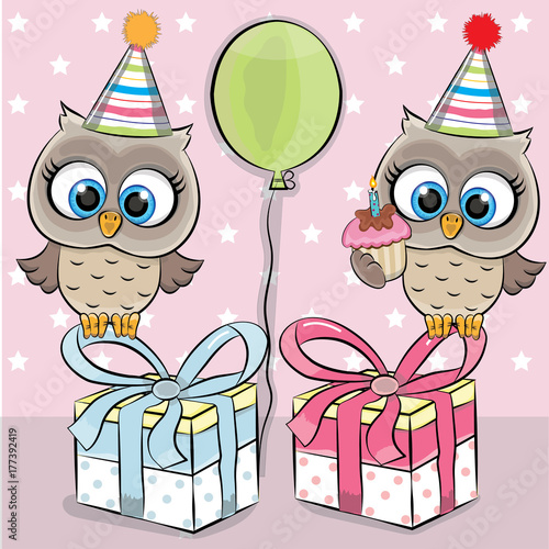 Aluminium Uilen cartoon OWLS HAPPY BIRTHDAY