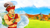 Cartoon scene of handsome prince or magician near castle in the background - illustration for children - 177394202