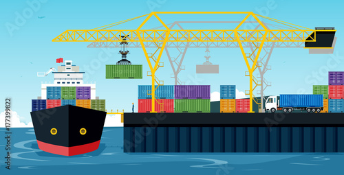 Tapeta Ports with cargo ships and containers work with crane.