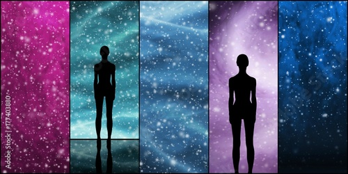 Foto op Canvas UFO Universe, stars, constellations, planets and an alien shape. Space backgrounds collection.