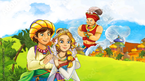 Foto op Aluminium Kasteel cartoon scene with loving couple near the castle looking at giant - illustration for children