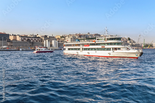 Panoramic view of Golden Horn with transport ships and boats Poster