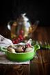 sweet dumplings with cherries in a bowl