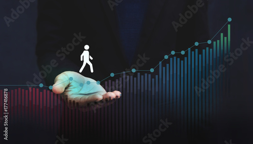 Foto Murales Company Helping and Supporting Customer to Success with Care Concept, Person Steps on Graph over a Careful Gesture Hand