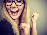 Closeup woman happy face with eyeglasses - 177417807