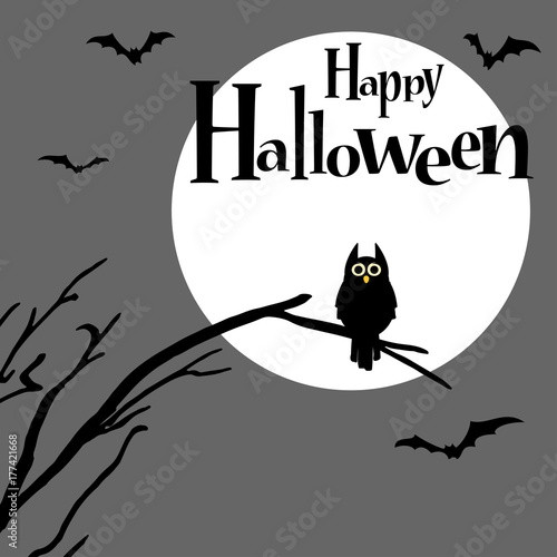 Foto op Plexiglas Uilen cartoon Halloween scary owl background