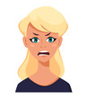 Face expression of a blonde woman - anger. Female emotions.