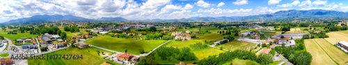 Deurstickers Toscane Aerial panoramic view of Lucca Countryside. City and mountains, Tuscany - Italy