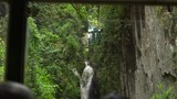 view from the window of the cable car cabin on a waterfall in a city of Dalat, Vietnam - 177429660