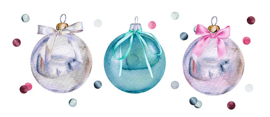 Set of watercolor Christmas glass balls with bows and confetti. Нand-drawn Xmas or New Year decoration © Irina Violet
