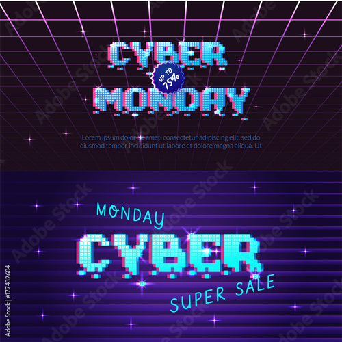 Cyber monday store promotion banner. Can be used as advertising, flyer
