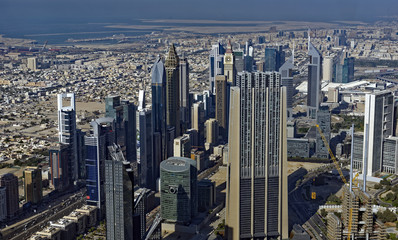 Growing modern center city of Dubai in the United Arab Emirates