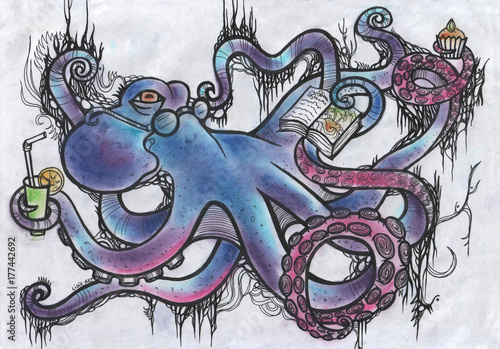 Foto op Plexiglas Graffiti Fantastic octopus. Illustration.