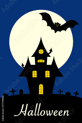 Cartel de Halloween con casa encantada
