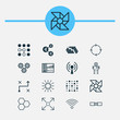Learning Icons Set. Collection Of Wireless Communications, Cyborg, Information Components And Other Elements. Also Includes Symbols Such As Cycle, Illustration, Computer.