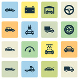 Car Icons Set. Collection Of Car, Convertible Model, Lorry And Other Elements. Also Includes Symbols Such As Cabriolet, Speed, Wash. - 177451212