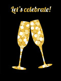 Two champagne glasses made of golden sequins on a black backdrop and text Let's celebrate