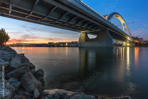 Autumn sunset at apollo bridge over Danube, Bratislava, Slovakia Poster