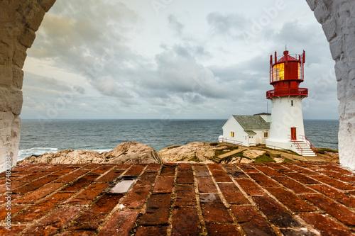 Fotobehang Vuurtoren Lindesnes Lighthouse in Norway