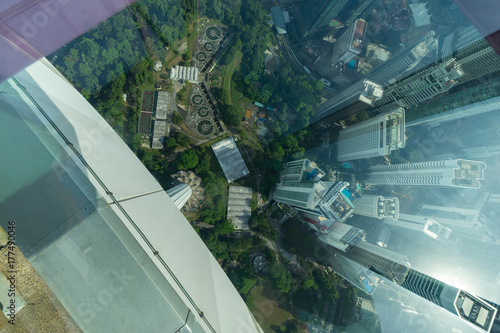 View from open deck and glass box of Kuala Lumpur Tower, a highest telecommunication tower in Malaysia (421 metres) and was completed on 1 March 1995 Poster