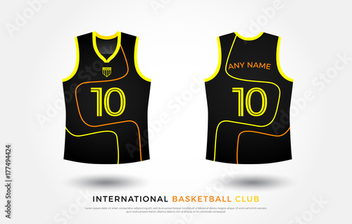 4889165df basketball t-shirt design uniform set of kit. basketball jersey template.  black