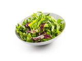 Salad Isolated on White. A bowl of fresh lettuce green salad over white with shadow - 177496842