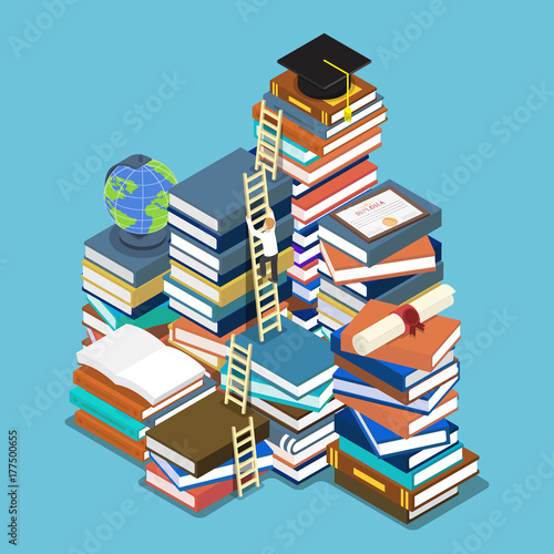 Isometric businessman climbing ladder to graduation cap.
