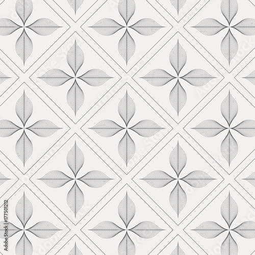 linear vector pattern, repeating abstract flower leaves with linear diamond shape, graphic clean design for fabric, event, wallpaper etc. pattern is on swatches panel. - 177501212