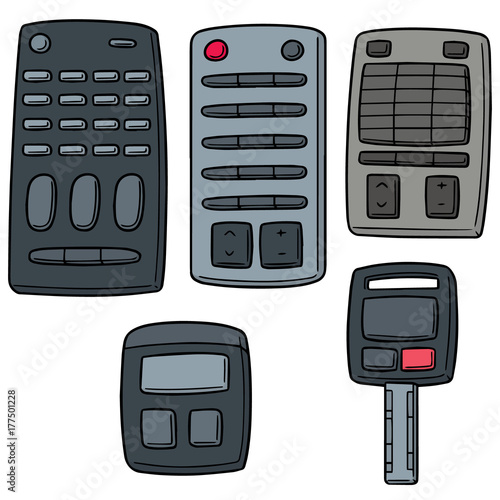 Aluminium Auto vector set of remote control