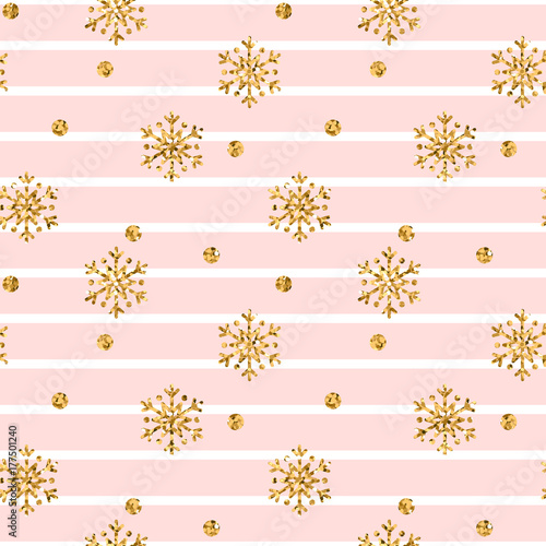 Materiał do szycia Christmas gold snowflake seamless pattern. Golden glitter snowflakes on pink white lines background. Winter snow texture design wallpaper Symbol holiday, New Year celebration Vector illustration