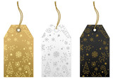 Merry Christmas Tags Set - Gold, White and Black Illustration, Vector - 177503889