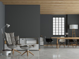 Modernes Loft mit dunkelgrauer Wand - 177508807