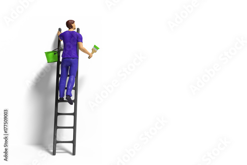 toy miniature figurine character with ladder and green paint in front of a wall
