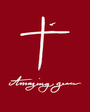 Abstract cross and flying bird with Amazing grace calligraphy word by hand drawn illustration on red background as Christianity artwork - 177510066