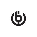 Initial letter wb, bw, b inside w, linked line circle shape logo, monogram black color - 177516674
